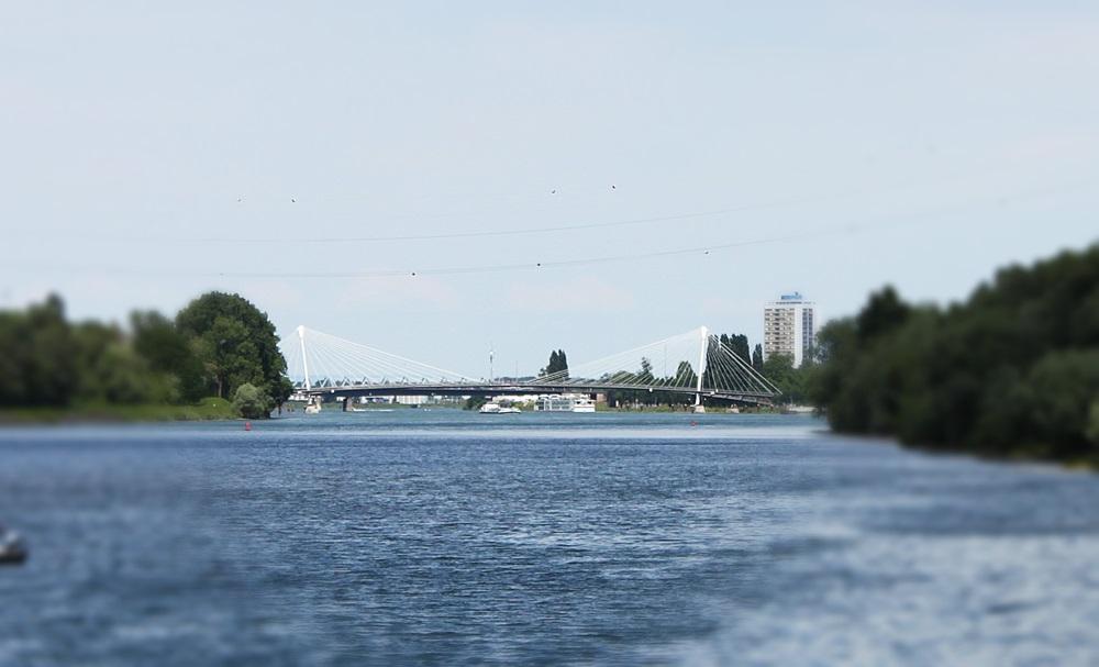 der tolle Blick auf die Rheinbrücke Kehl-Strassburg